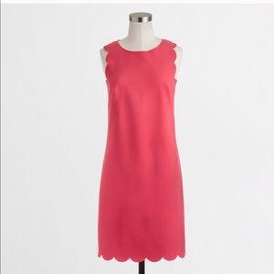 Jcrew Red Scallop Dress